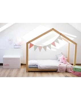 Łóżko drewniane Domek Mila dla dzieci
